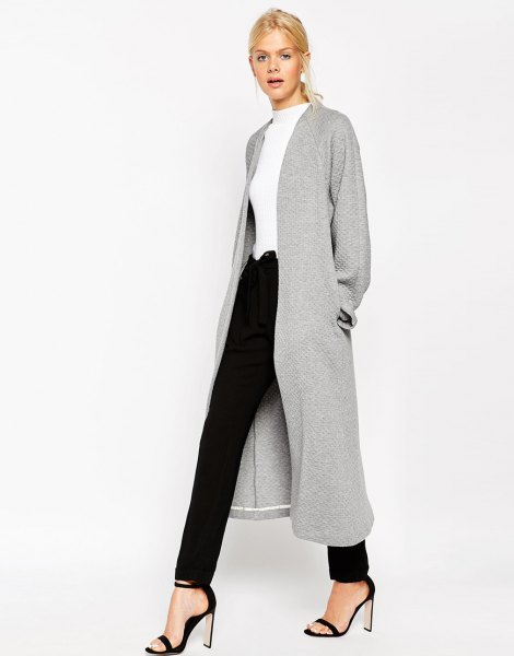 grey textured maxi jacket