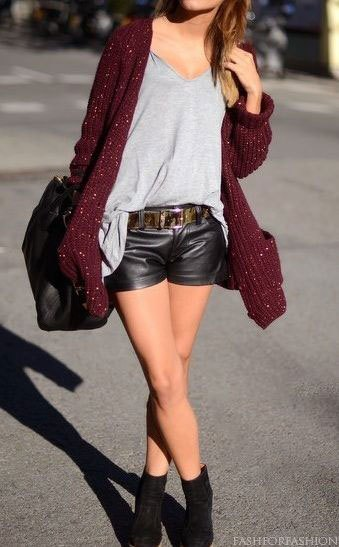 grey v neck tee cardigan leather shorts