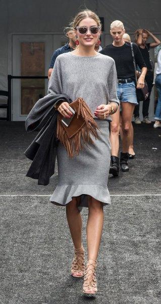 grey wool ruffle skirt knit sweater