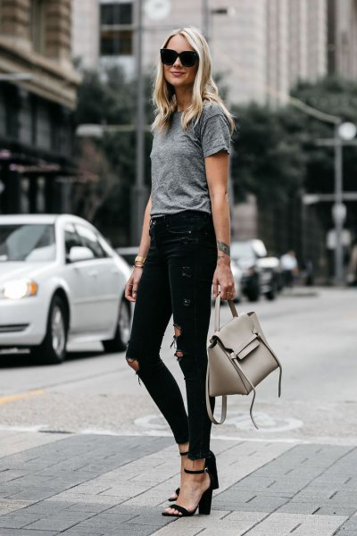 heather grey t shirt ripped skinny jeans