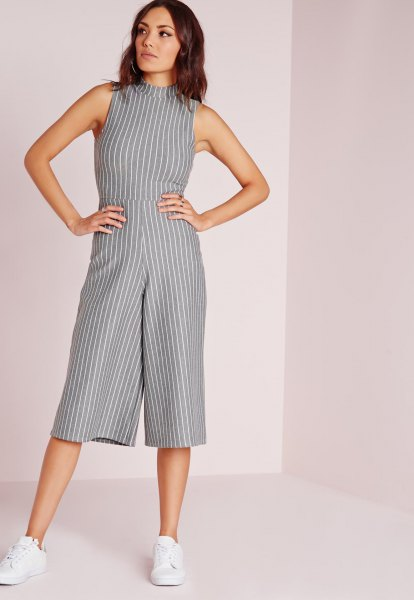 high neck grey and white striped jumpsuit