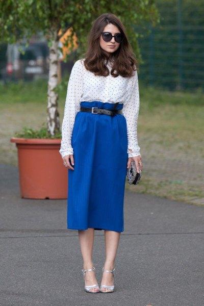 high waisted midi royal blue skirt dotted shirt