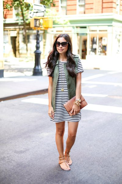 horizontal striped t shirt dress cargo vest