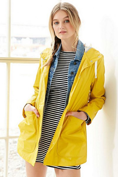 horizontal striped t shirt dress yellow raincoat
