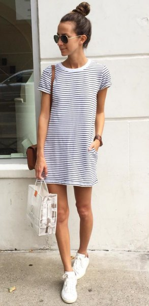 horizontal striped tee dress white canvas shoes