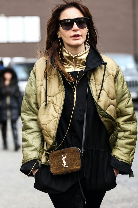 khaki jacket animal print bag