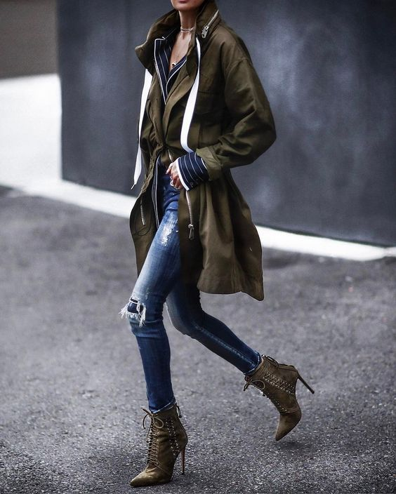 khaki jacket lace up boots