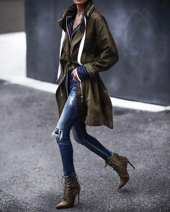 khaki jacket lace up boots