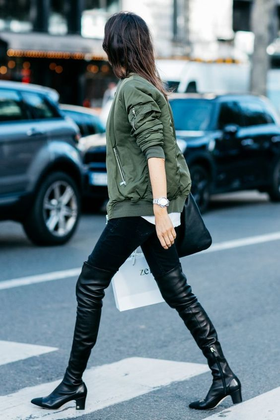 khaki jacket thigh high boots