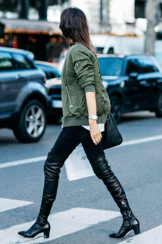 khaki jacket thigh high boots