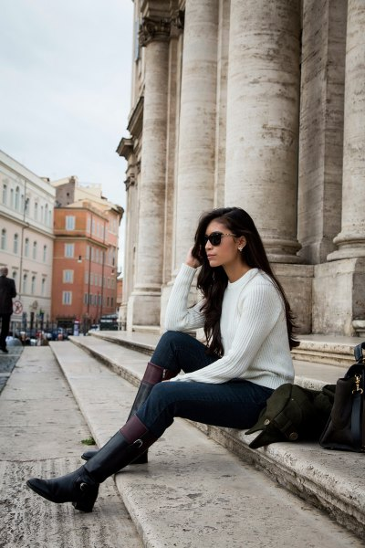 knee high boots skinny jeans