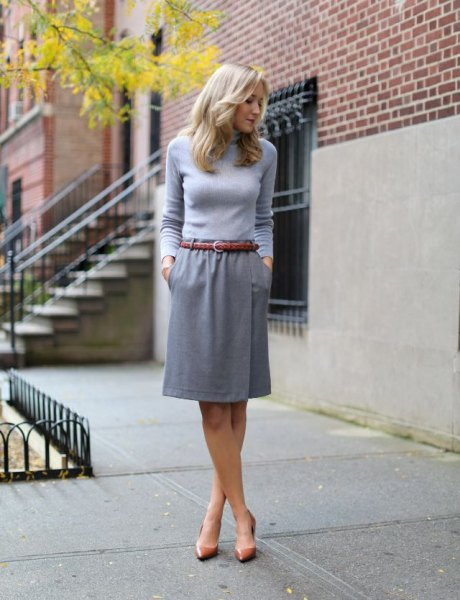 knee length skirt grey form fitting sweater