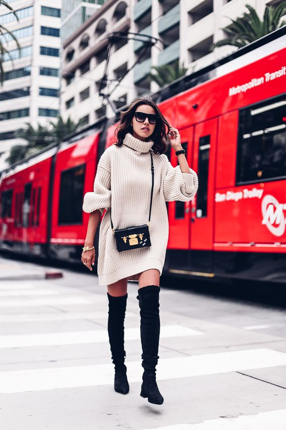 knit sweater dress beige