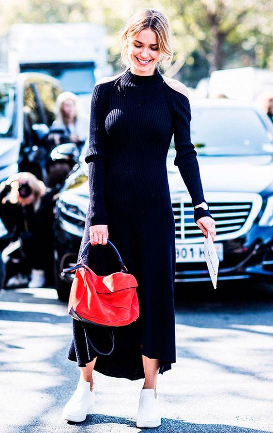 knit sweater dress black