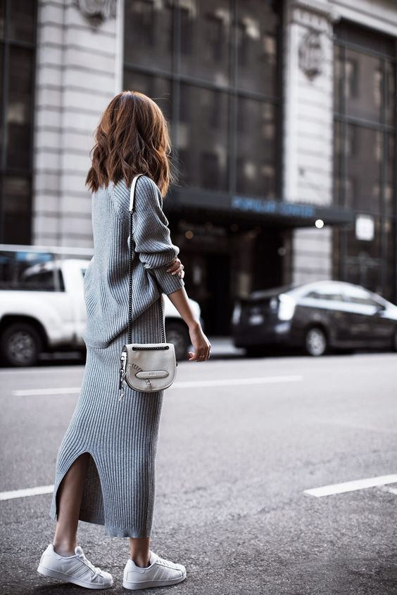 knit sweater dress grey long
