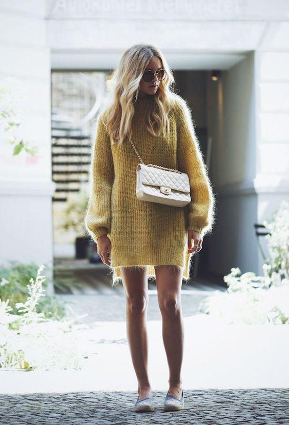knit sweater dress mustard