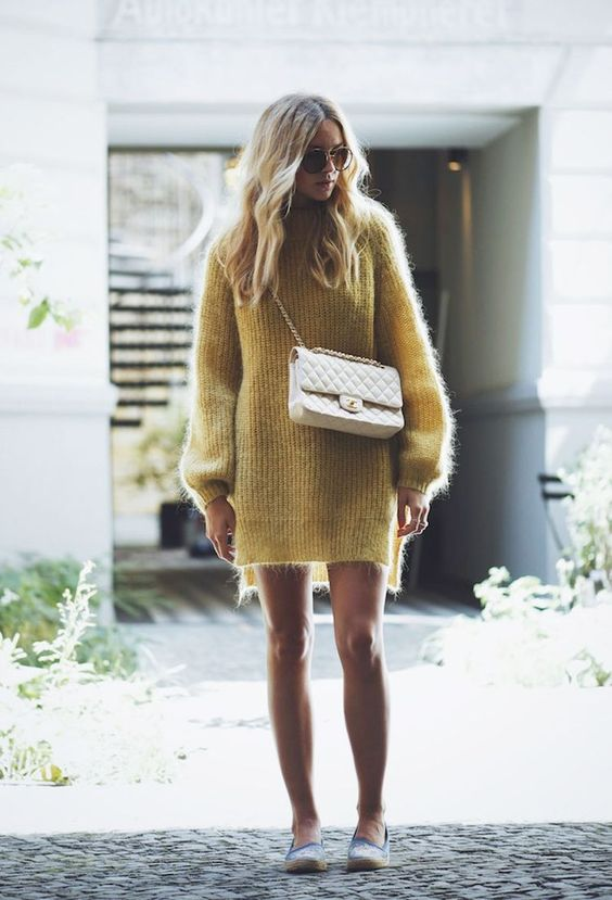 knit sweater dress mustard