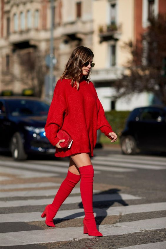 knit sweater dress red head toes