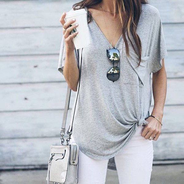 knotted v neck t shirt white skinny jeans