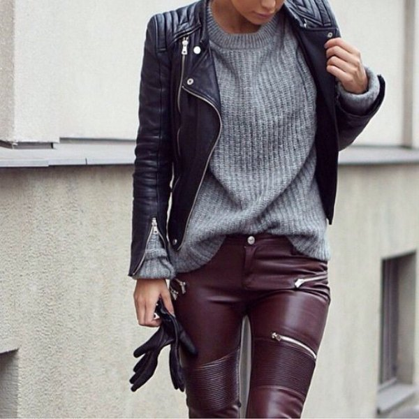 leather jacket and pants grey knit sweater