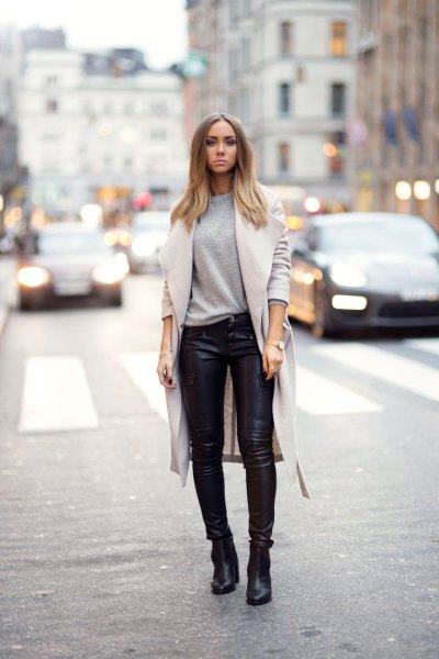 leather pants black ankle boots wool coat