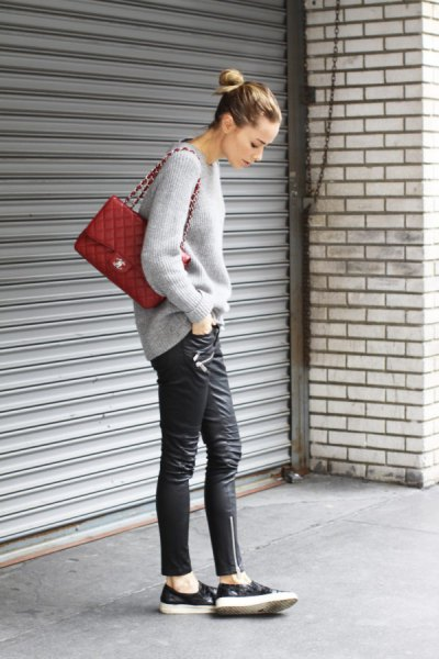 leather sneakers grey chunky knit sweater