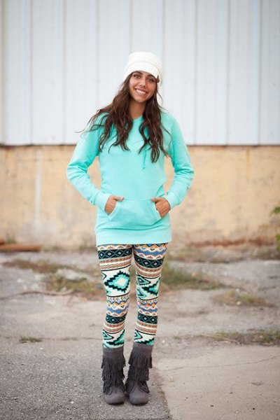 light blue sweater knee high boots printed leggings