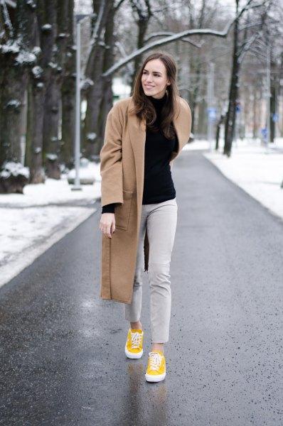 light grey pants camel wool coat