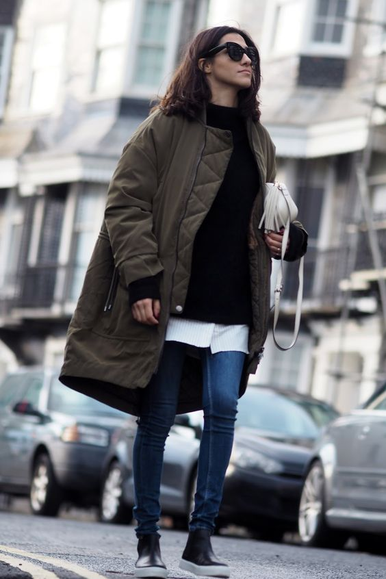 long bomber jacket sneaker boots