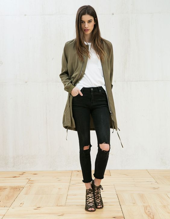 long bomber jacket classic
