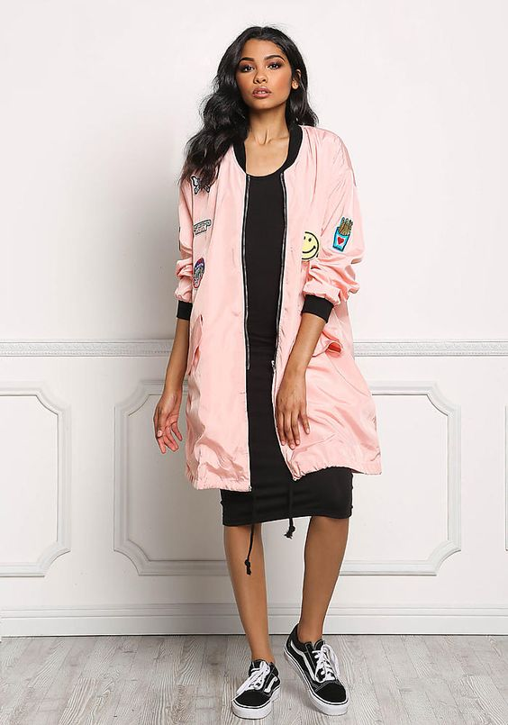 long bomber jacket pink stickers