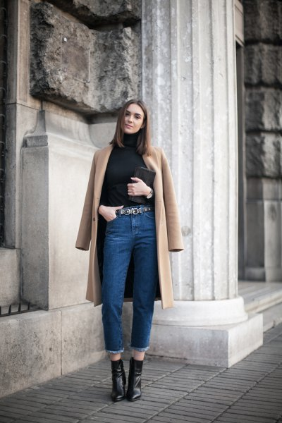long brown wool coat mom jeans outfit
