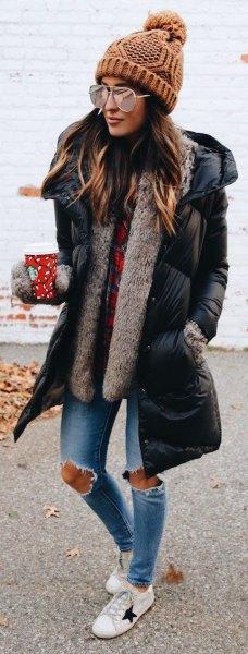 long buffer jacket faux fur vest