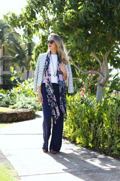 long floral chiffon scarf striped bomber jacket