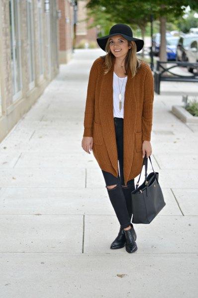 long knit sweater cardigan black hat