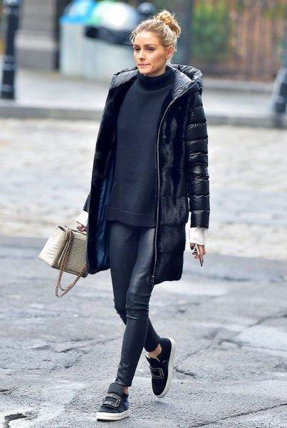 long puffer jacket navy knit sweater