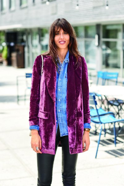 long purple velvet blazer denim boyfriend shirt