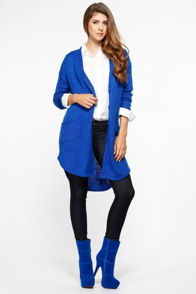 long royal blue knit cardigan fleece boots