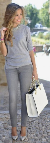 long sleeve grey tee statement necklace