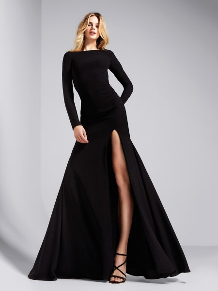 long sleeve split maxi black cocktail dress