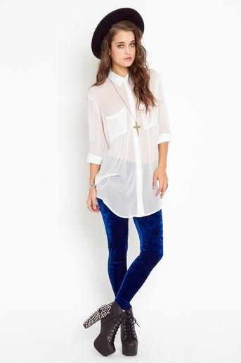 long white chiffon shirt blue velvet leggings
