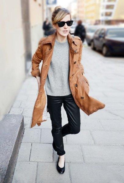 longline brown leather jacket black ballet flats
