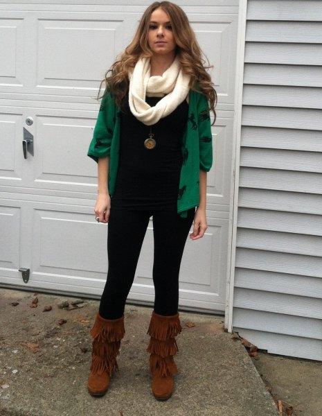 mid calf fringe boots green cardigan