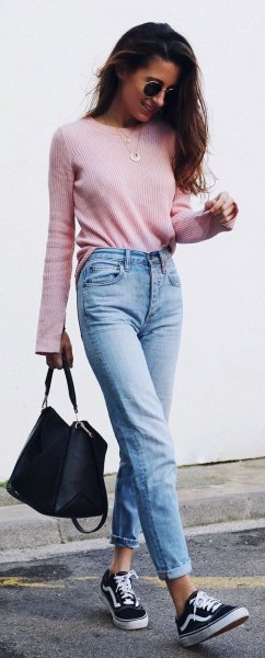 mom jeans grey slim fit knit sweater