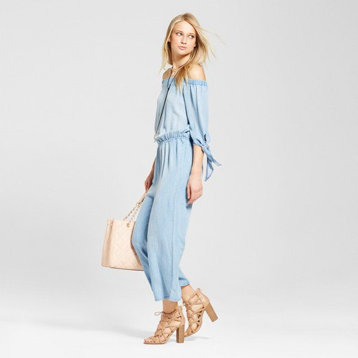 off shoulder chambray jumpsuit strappy sandals