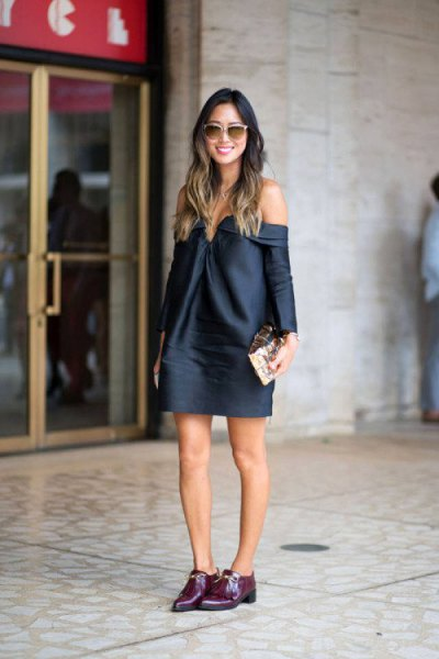 off shoulder sweater dress black oxford shoes