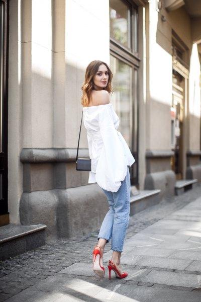 off shoulder white top jeans red heels