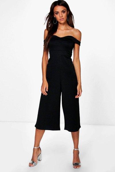 off the shoulder black culotte jumpsuit