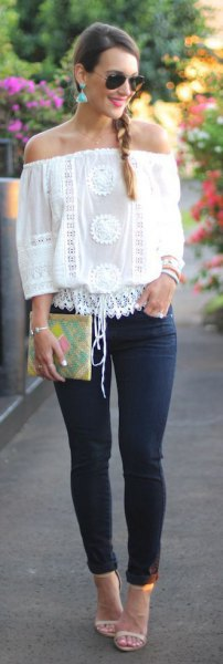 off the shoulder boho lace top