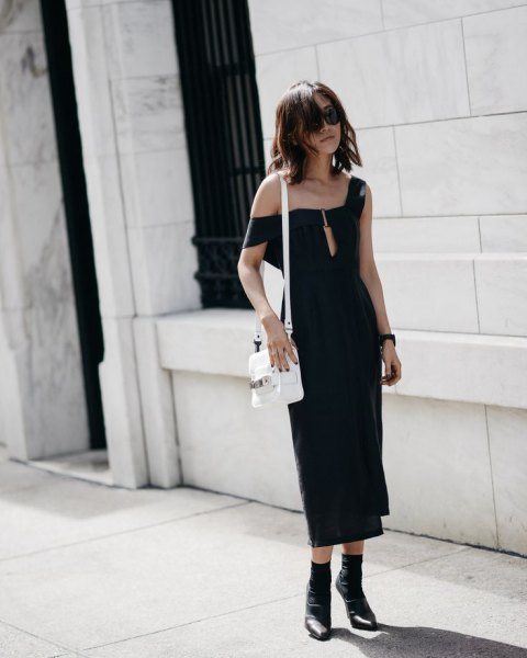 one shoulder black midi dress ankle boots
